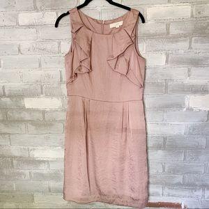 Loft | Ruffle Dusty Rose Sleeveless Dress Size 6